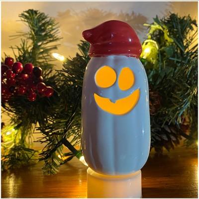 Ceramic Mini Ghost Pumpkin - Santa