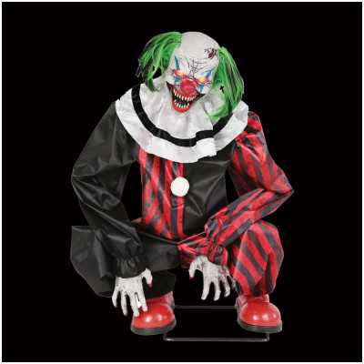 Red Crouching Clown Animated Prop
