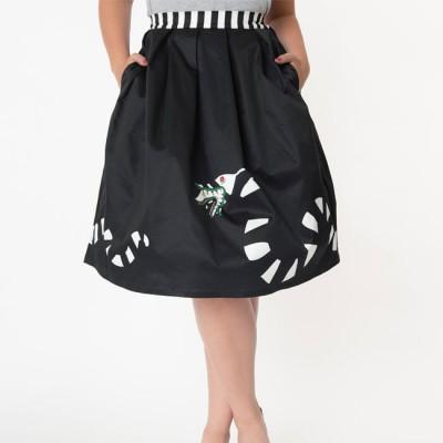 Unique Vintage - Beetlejuice Sandworm Swing Skirt