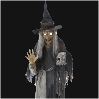 Lunging Haggard Witch Animated Prop