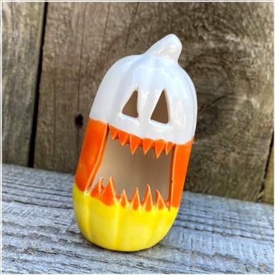 Ceramic Candy Corn Mini Pumpkin - Fangs