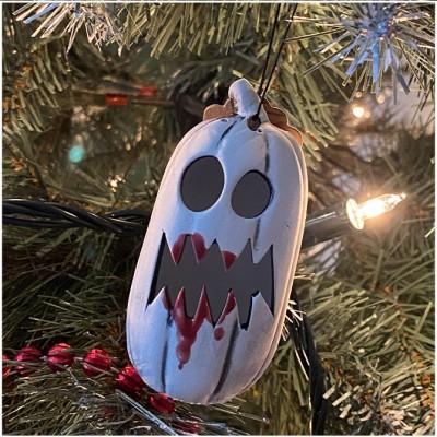 Ghost Pumpkin Christmas Tree Ornament - Bloody