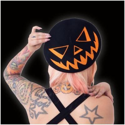 Trick or Treat Pumpkin Black Beret