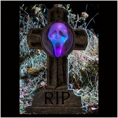 Ghost Face Light Up Tombstone