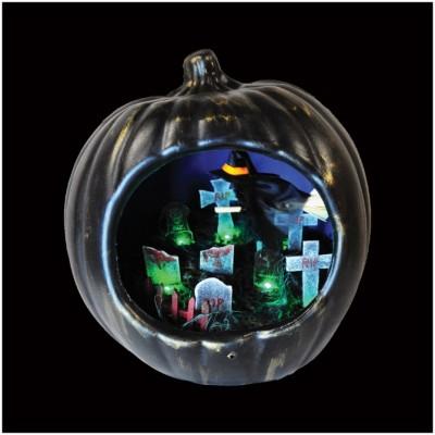 Animated Pumpkin Diorama - Graveyard Witch
