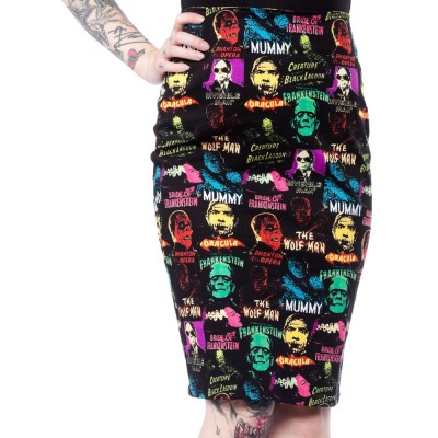 Universal Monsters Collage Pencil Skirt