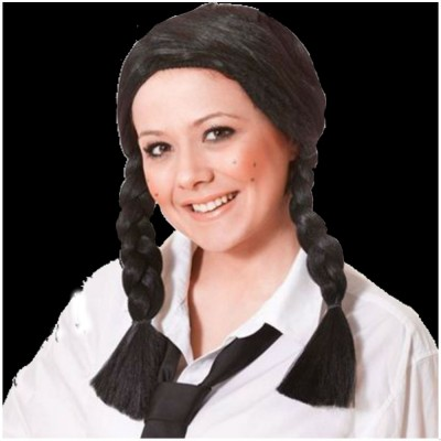 Long Black School Girl Wig