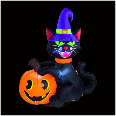 1.8m Black Cat and Pumpkin Inflatable with Lights