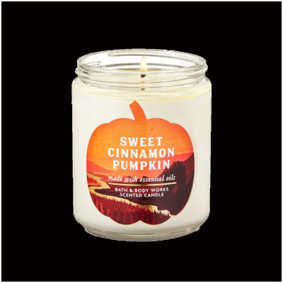 Bath & Body Works Single Wick Candle - Sweet Cinnamon Pumpkin
